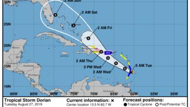 Photo of Meteorología emite alertas por condiciones de huracán y tormenta ante el paso de Dorian