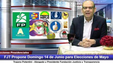 Photo of FJT propone el domingo 14 de junio para celebrar elecciones presidenciales de mayo por Coronavirus