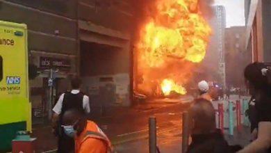 Photo of Gran incendio y explosión en un puente de tren en Londres