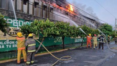 Photo of Cuerpo de Bomberos y alcaldesa Carolina Mejía se encuentran en el Ensanche La Fe en el incendio que afecta la empresa Colchonería